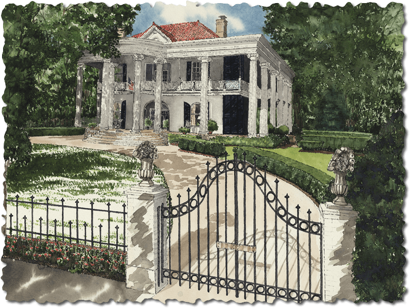 Oil Painting Of Belle Oaks Inn Located In Gonzales Texas